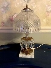 "LARGE VINTAGE CRYSTAL LAMP WITH CRYSTAL SHADE AND PRISMS 16"" TALL"