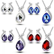 Fashion Chain Crystal Set Stud Earring Pendant Necklace Silver Plated