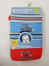 Gerber 4 Pack Boys Baby Bodysuits All Star New 12 Months