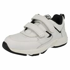 Boys Startrite Trainers In White/Navy Leather 'Meteor' G Fitting