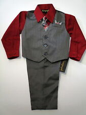 Vangogh boys red & charcoal long sleeve pin stripe 4 piece dress set Sz 4-7