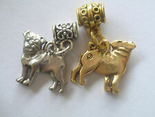 Pug small dog breed pewter Charms gold & silver tone ready 2 hang pendants