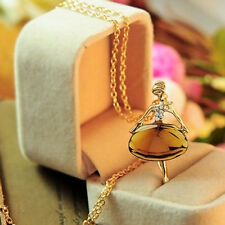 Ladies Women Long Chain Crystal Ballet Girl Pendant Necklace Gold Plated
