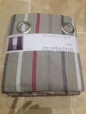 BRAND NEW NEXT RED TEXTURED STRIPE EYELET FULLY LINED CURTAINS 54 X 90