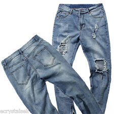 Men Casual Classic Straight Slim Fit Jeans Distressed Ripped Pant Denim Trousers