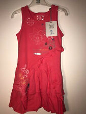 NWT DEUX PAR DEUX girls' pink teaberry JERSEY DRESS HEART BEAT size 8y style H91