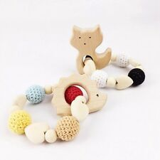 2 pcs Wooden Teether Toy Organic Teething Baby Shower Gift Bracelet Rattle