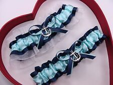 NEW Gorgeous Aqua Navy Blue White Wedding Garter Prom Homecoming Anchor Sailor