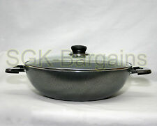 Double Handle 32cm Non-Stick Coated Frying WOK Sauce Fry with Glass Lid 15138
