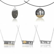 Fashion Tibetan Silver Family Love Pendant Chain Necklace Mother's Day Jewellery