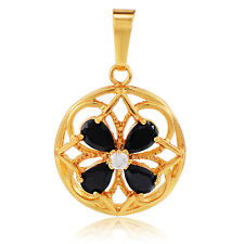 Vintage Girls Colorful Crystal Flower Hollow Pendant 24K Gold Plated Lucky Gfit