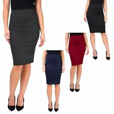 Womens Fashion Stretch Fitted Midi Belted Bodycon Pencil Skirt Work Office 2-14