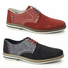 Rieker B1402 Mens Suede Leather Wide Fit Lace-Up Smart Casual Comfort Shoes