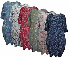 Ladies Italian Lagenlook Small Floral Balloon Quirky Boho Cotton Tunic Top Dress