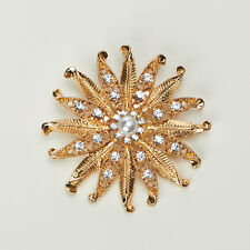 BRIDAL FLOWER BROOCH WITH RHINESTONES AND PEARL CENTER
