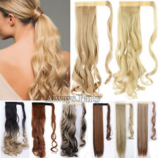 US Lady Women Clip In Ponytail Pony Tail Hair Extension Wrap On Fake Hair Piece
