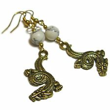 Gorgeous White Turquoise Dragon Earrings By SoniaMcD