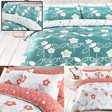 Duvet Cover & Pillow Case Set Quilt Bedding Scandi Floral Teal  & Coral Cameo