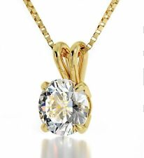 Yellow Gold Plated Pendant White Round I Love You Crystal Chain Necklace Jewelry