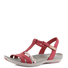 Womens Clarks Tealite Grace Red Nubuck Flat Leather Sandals - D Fit UK Size