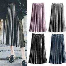 Vintage Long Skirt Womens Stretch High Waist Skater Flared Pleated Swing Dress