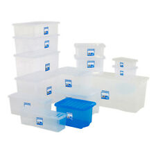 Plastic Storage Box Containers Clear/Blue/Pink Wham 16-80 Litres With Lid BiGDUG