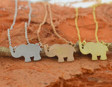 Brushed Elephant Necklace-Sterling Silver-Initial Pendant, Elephant Pendant,Luck