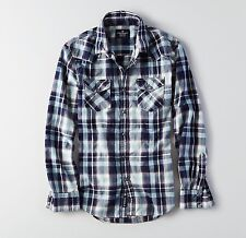 New Men's American Eagle Plaid Western Snapped Button Shirt Size XXL 2XL
