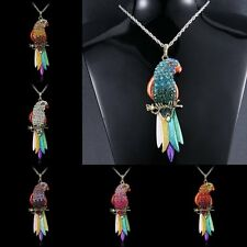 Fashion Crystal Rhinestone Charm Parrot Pendant Sweater Chain Necklace Jewelry