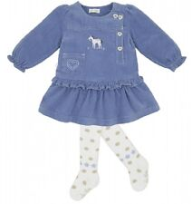 NWT LE TOP COWGIRL blue DRESS & white TIGHTS baby girl set 6M 9M 12M 18M  120202