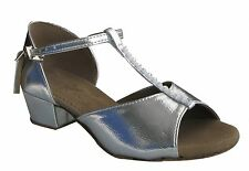 HENRYG Girl Children Flat Heel Latin Salsa Ballroom Dance Shoes in Silver 601S