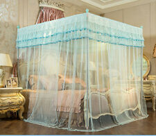 Light Blue Height QC 4 Post Bed Curtain Canopy Mosquito Netting Twin Queen Size