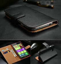 Genuine Real Leather Flip Stand Wallet Case Cover For Microsoft Nokia Lumia