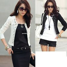 New Womens Outwear Suit OL Blazer Long Sleeve Rivet Lady Short Jacket Coat EA