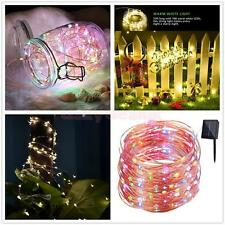 Solar Powered 100/200 LED String Fairy Tree Light Outdoor Party Xmas 3 Colors