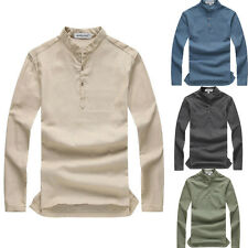 Vintage Mens Casual Linen Shirts Long Sleeve Slim Fit Henley Shirt Tops 2017 New
