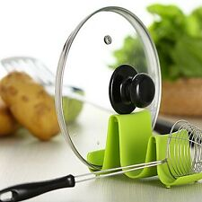 Spoon Rack Rest Pot Pan Lid Shelf Stand Holder Kitchen Cooking Utensil Tool