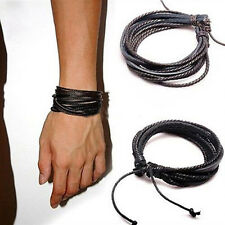Men LEATHER WRIST BAND BRACELET MULTI WRAP HEMP SURFER BRAID CUFF BLACK COFFEE