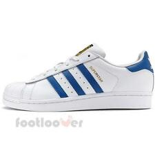 Shoes Adidas Superstar Junior S74944 Bambini White White Blue Sneakers Running