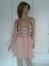 COCOS FORTUNE SEMI SHEER PEACH PROM? DRESS SIZE 6 BNWT EMBELLISHED LINED BNWT