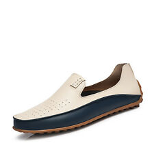 GOMNEAR Men Big Size Genuine Leather Shoes Non Slip Loafers Driving Casual Shoes