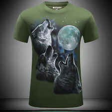 Short Sleeve 3D Wolf Printed Summer T-shirt Sports New Casual Tops Fashion Tee