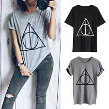 Fashion Women Geometric Pattern Short Sleeve Loose T-Shirt Crew Neck Tee Tops