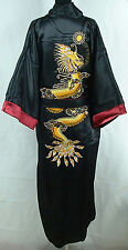Burgundy/black Reversible Retro Style Men's Silk/satin Bathrobe Robe/gown M-XXXL