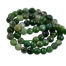 """6mm/8mm Natural Green Grass Moss Agate Faceted Round Beads Strand 15"""" Jewelry"""