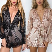 Women Deep V-neck Sexy Romper Playsuit Lace Bodycon Jumpsuit Party Clubwear