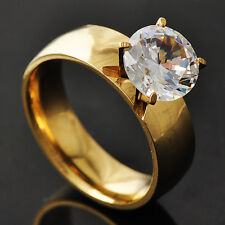 Classic Womens stainless steel Crystal Promise wedding Band Ring Size 6-9