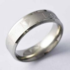 "Silver plated couple Mens ""Love ""wedding promise Ring lot Size 7,8,9,10,11"