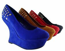 Women Shoes High Heel Curved Wedge Fashion Sexy Studded Spike Design Faux Suede
