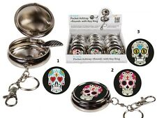 Portable Pocket Ashtray / Keyring Mexican Day of the Dead Sugar Skull 3 Options